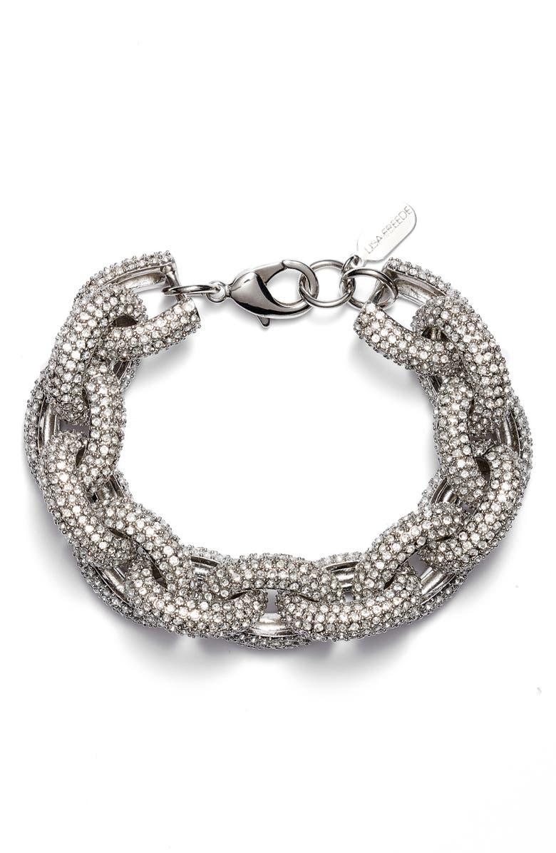 LISA FREEDE Cubic Zirconia Link Bracelet, Main, color, RHODIUM