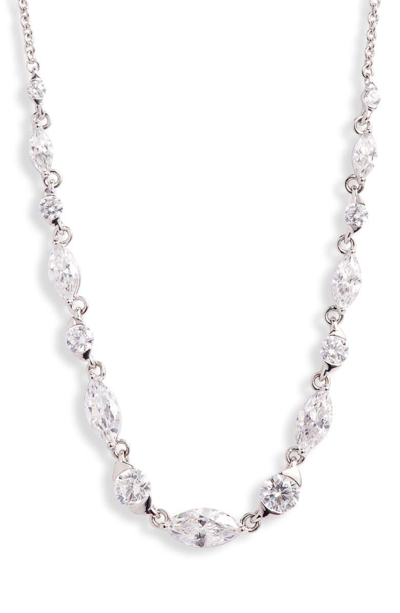 NADRI Tango Adjustable Frontal Necklace, Main, color, RHODIUM