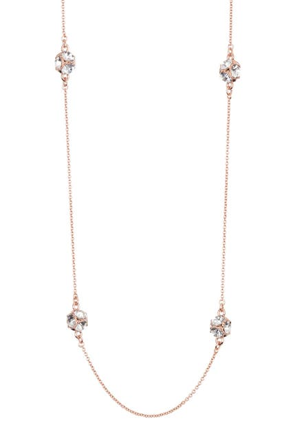 Image of kate spade new york lady marmalade rose gold plated stone station necklace