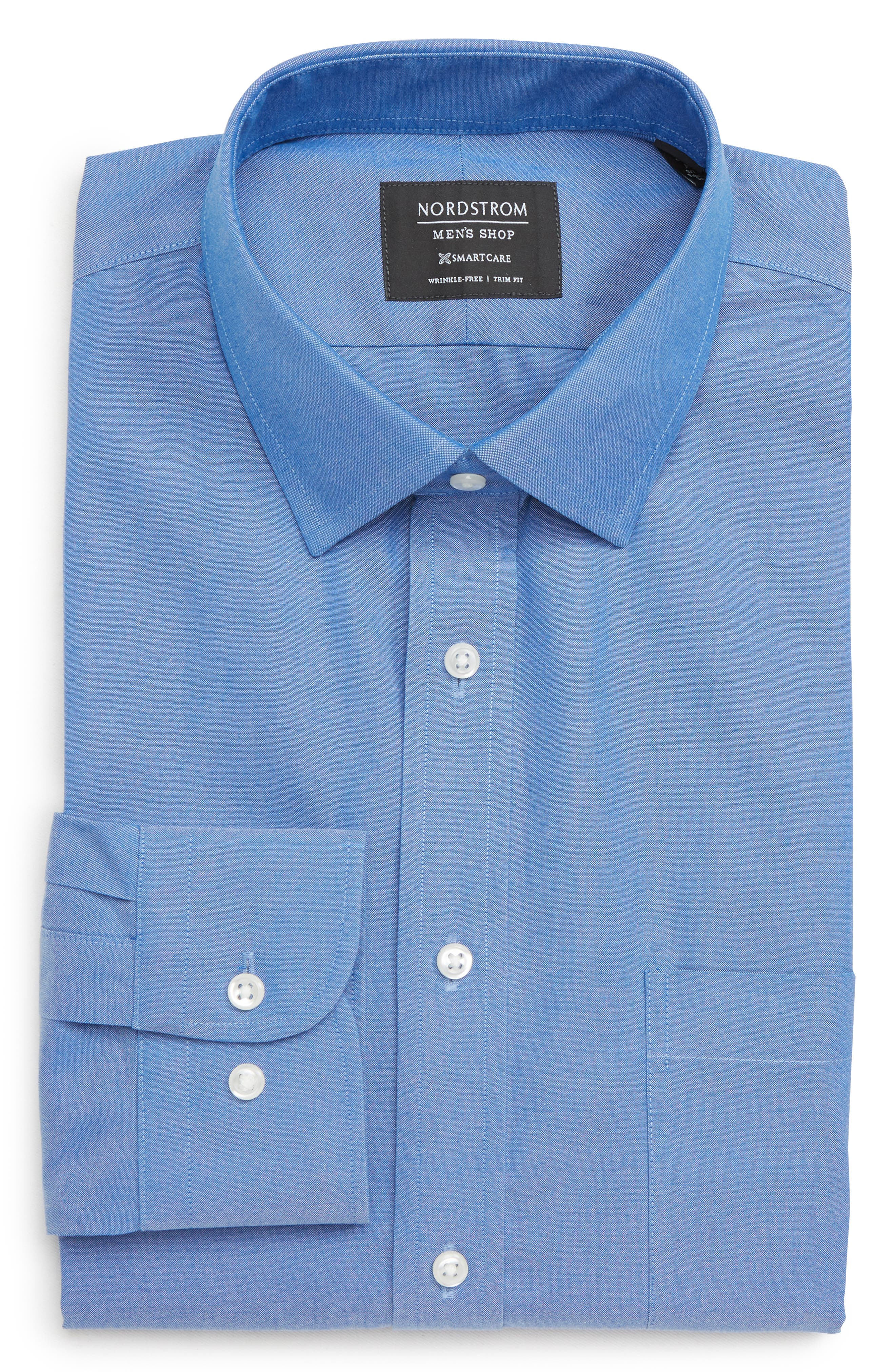 Nordstrom Shop Smartcare(TM) Trim Fit Solid Dress Shirt - Blue