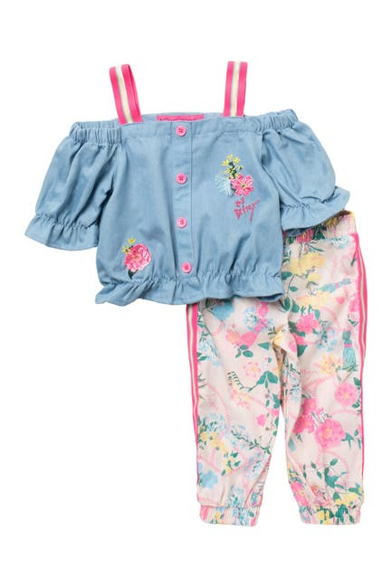 Image of Betsey Johnson Off The Shoulder Top & Capri Pants Set