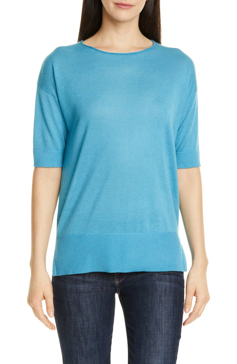 NORDSTROM SIGNATURE Short Sleeve Cashmere & Linen Sweater, Main, color, 420
