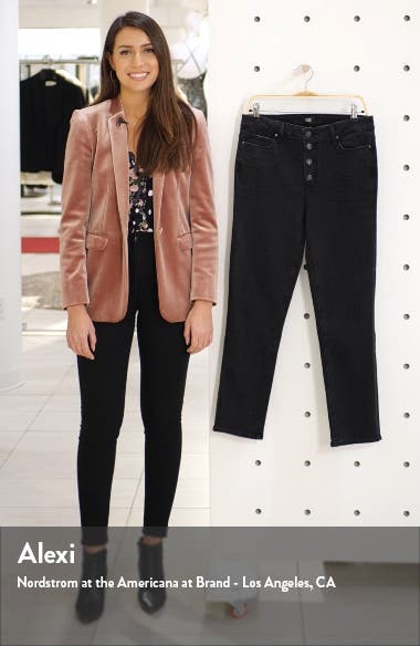 Hoxton Exposed Button High Waist Ankle Skinny Jeans, sales video thumbnail