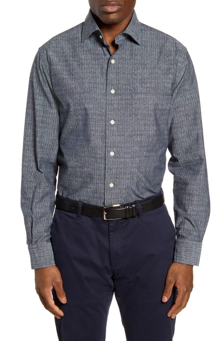 PETER MILLAR Regular Fit Arrowhead Chambray Button-Up Shirt, Main, color, NAVY