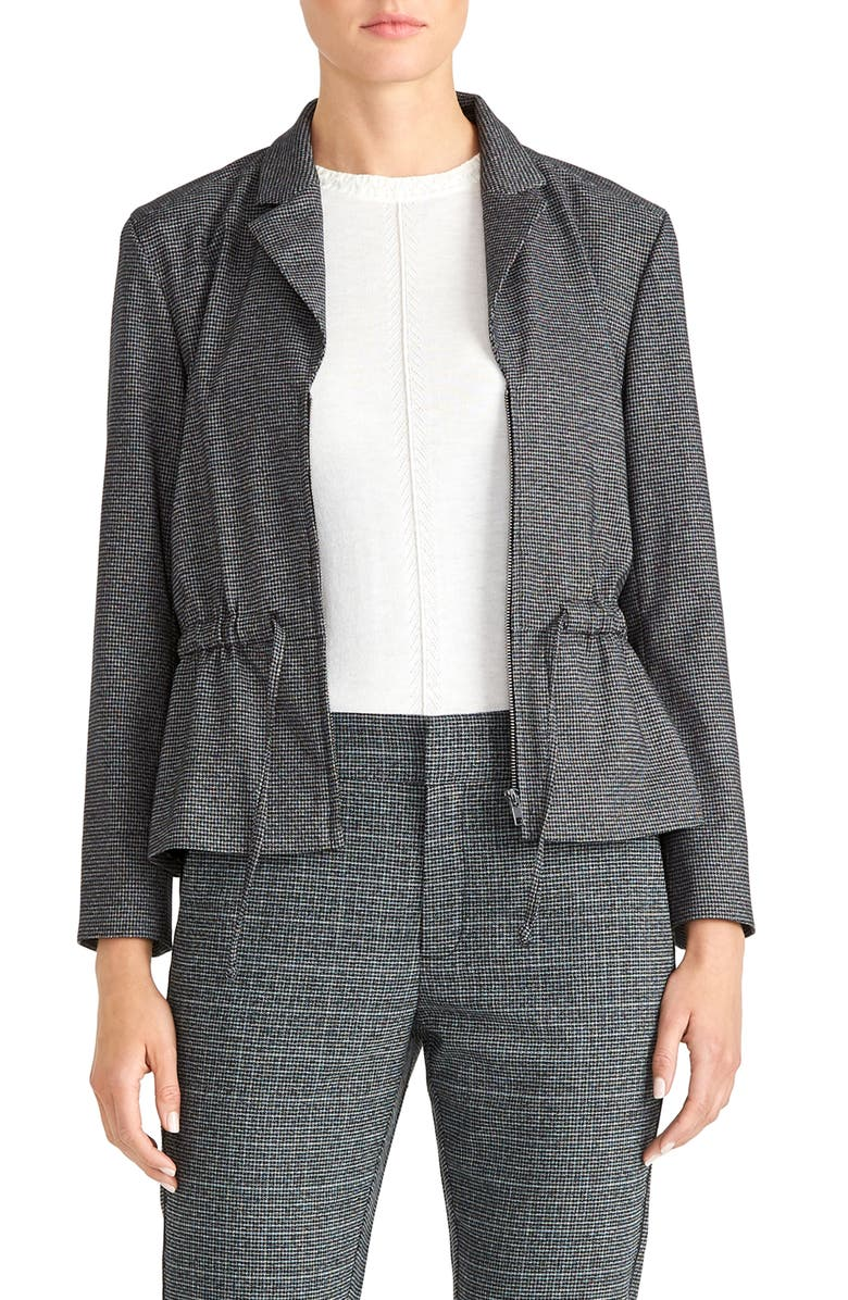 RACHEL ROY COLLECTION Drawstring Waist Microcheck Jacket, Main, color, CHARCOAL HEATHER GREY