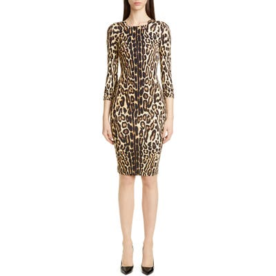 Burberry Leopard Print Body-Con Dress, Beige