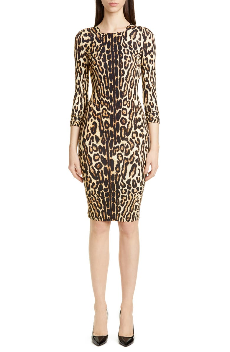 BURBERRY Leopard Print Body-Con Dress, Main, color, CAMEL