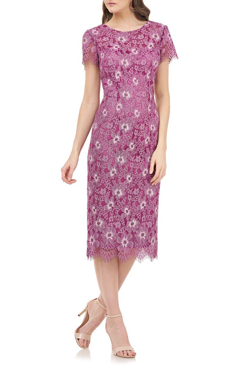 JS COLLECTIONS Floral Lace Cocktail Dress, Main, color, BERRY MULTI