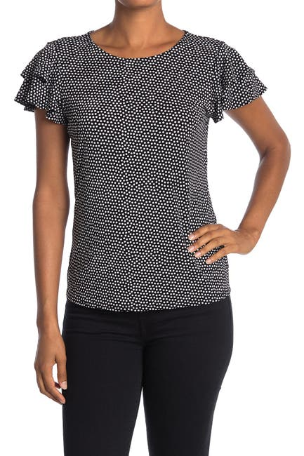 Image of Adrianna Papell Short Sleeve Knit Dot Print Moss Crepe Top
