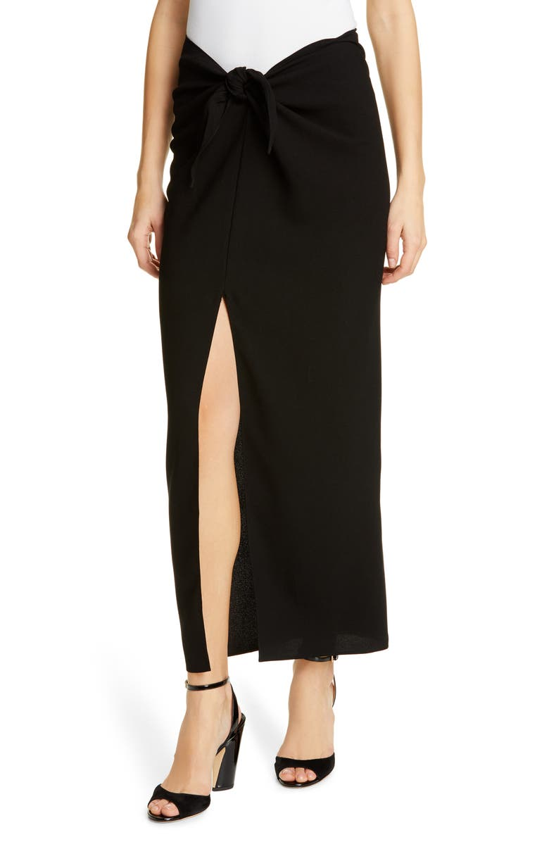 JENNI KAYNE Tie Front Crepe Long Skirt, Main, color, 001
