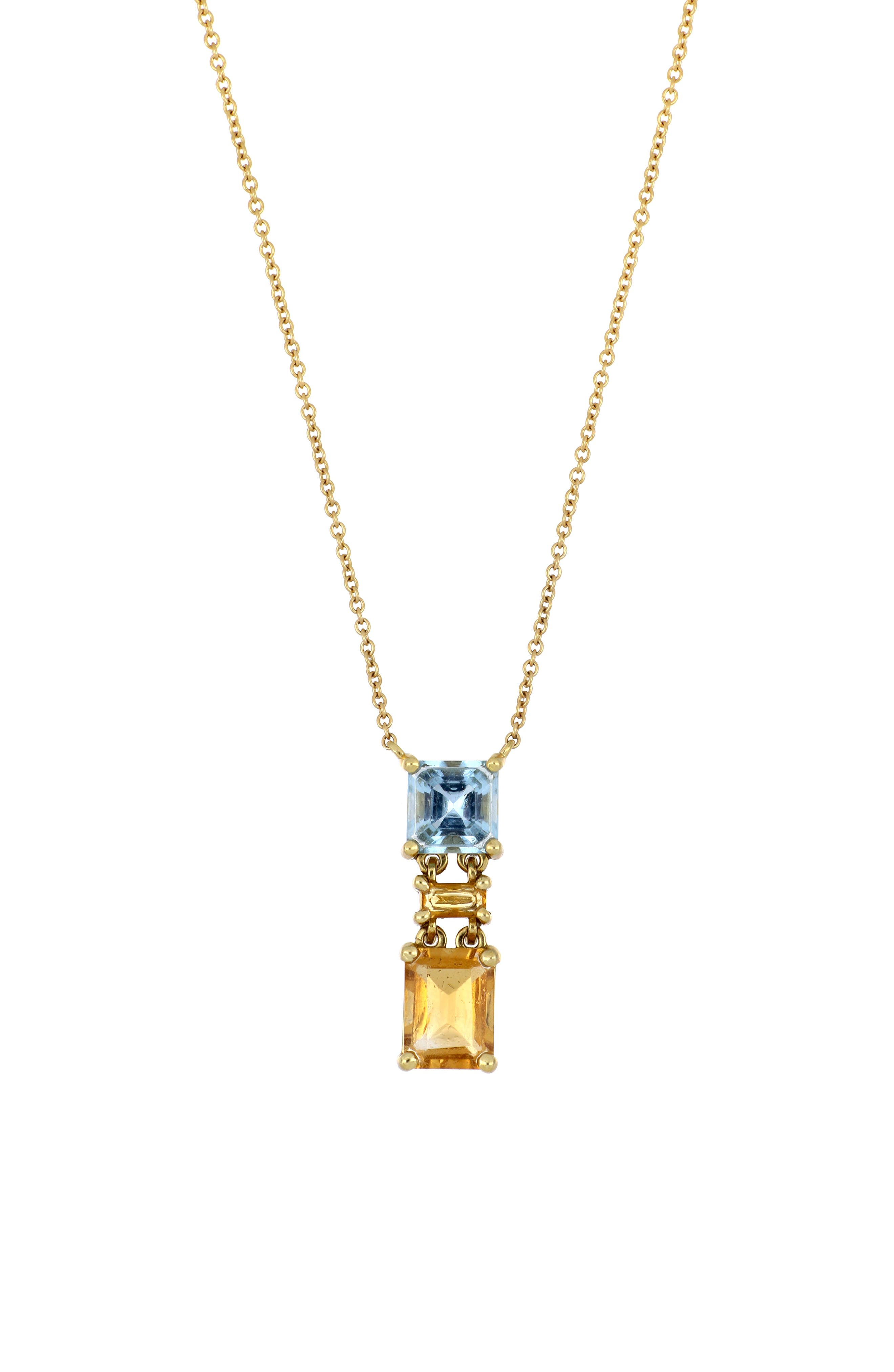 Offering rich color and deep sparkle, a tiered pendant of citrine and aquamarine stones anchors a handcrafted necklace of 18-karat gold. Style Name: Bony Levy Citrine & Aquamarine Pendant Necklace (Nordstrom Exclusive). Style Number: 6064106. Available in stores.