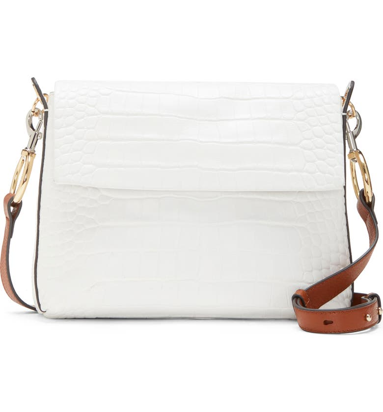 VINCE CAMUTO Palo Leather Crossbody Bag, Main, color, RADIANT WHITE