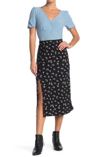 Image of GOOD LUCK GEM Side Slit Ribbed Midi Skirt