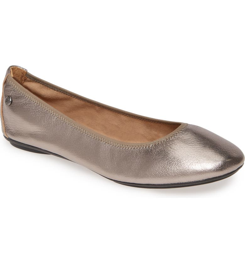 HUSH PUPPIES<SUP>®</SUP> 'Chaste' Ballet Flat, Main, color, GUNMETAL METALLIC LEATHER