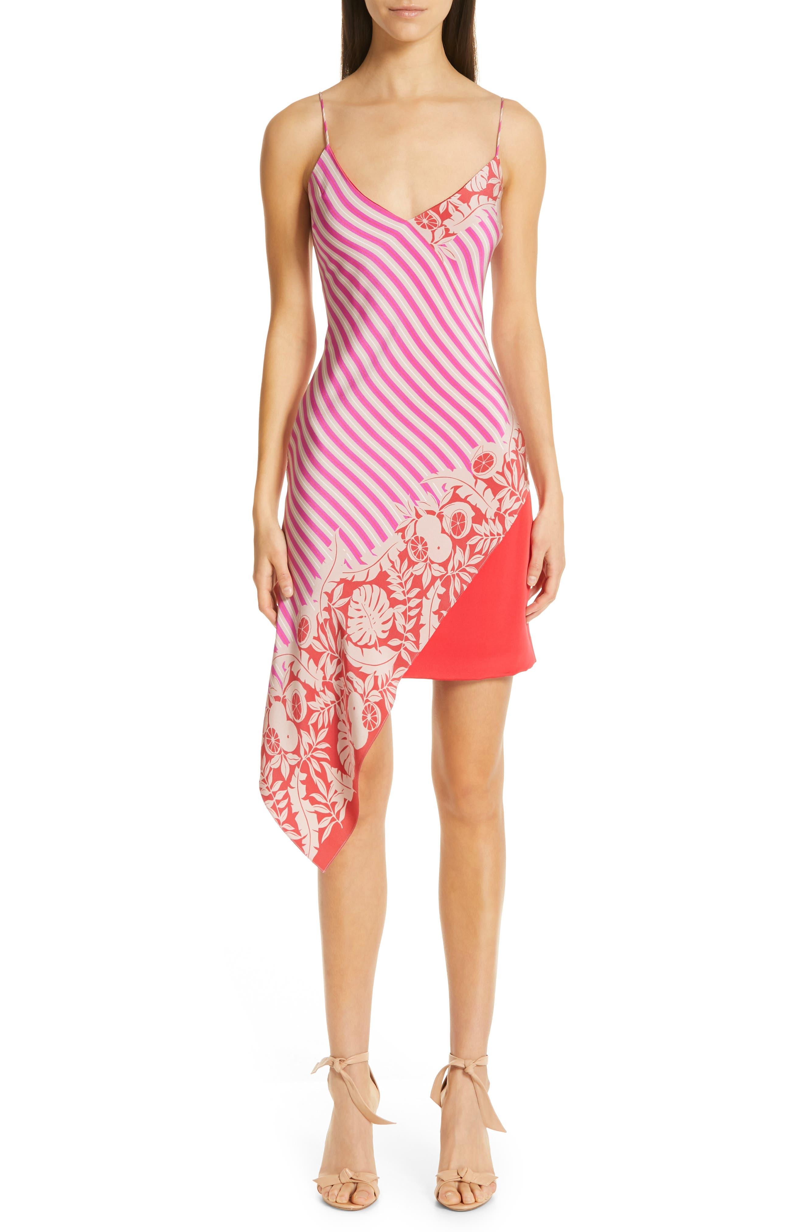 Asymmetrical Silk Minidress, Main, color, TROPICAL STRIPE BORDER