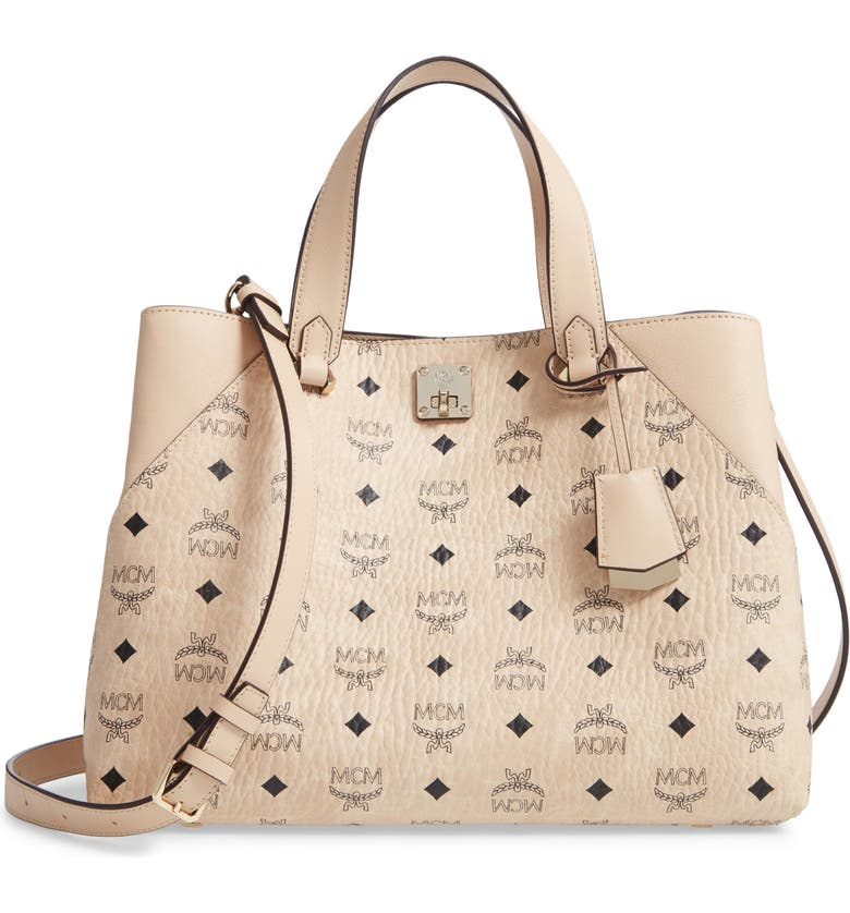 MCM Large Visetos Coated Canvas Tote, Main, color, BEIGE/ BEIGE