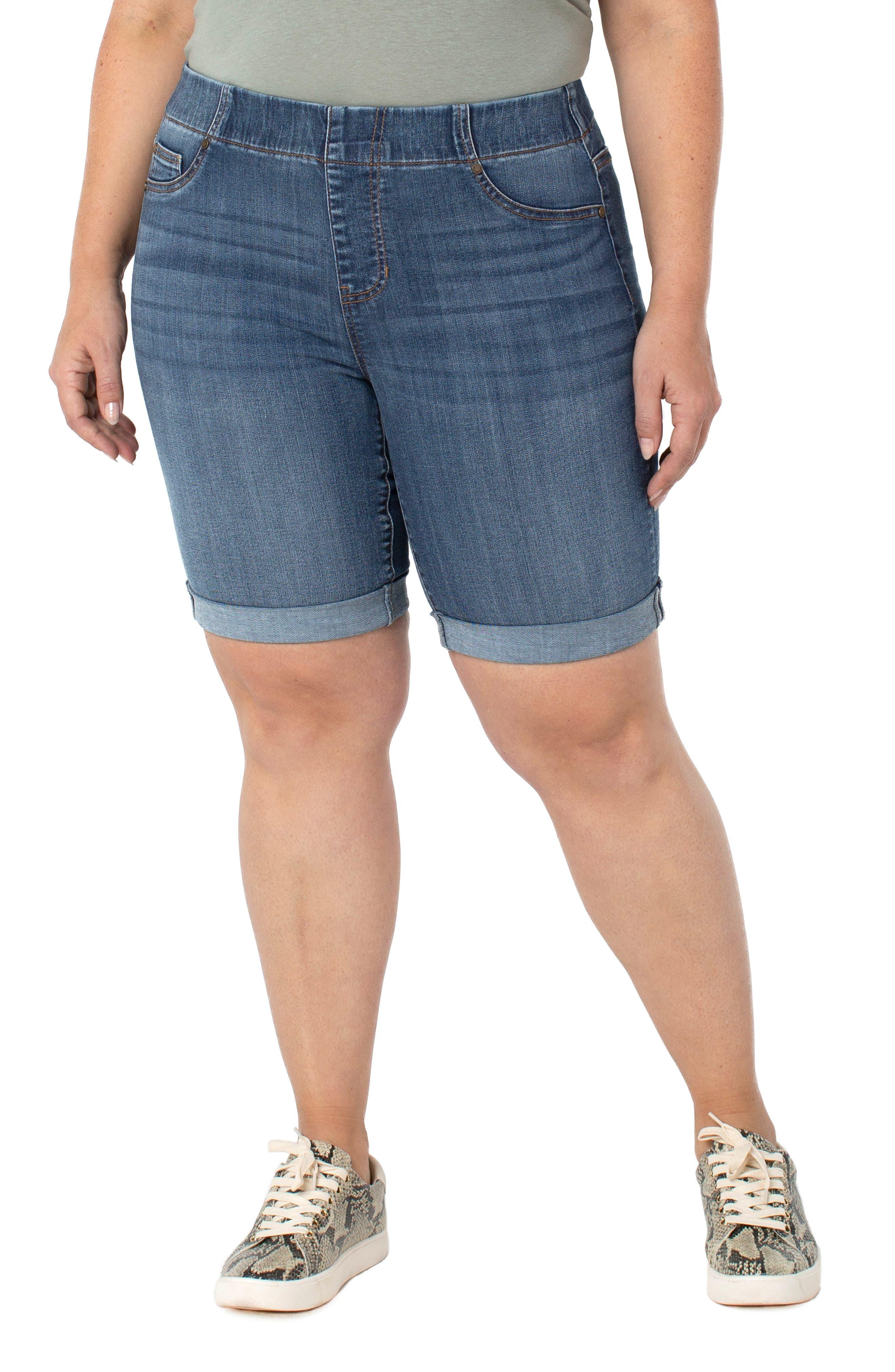 Chloe Roll Cuff Denim Bermuda Shorts