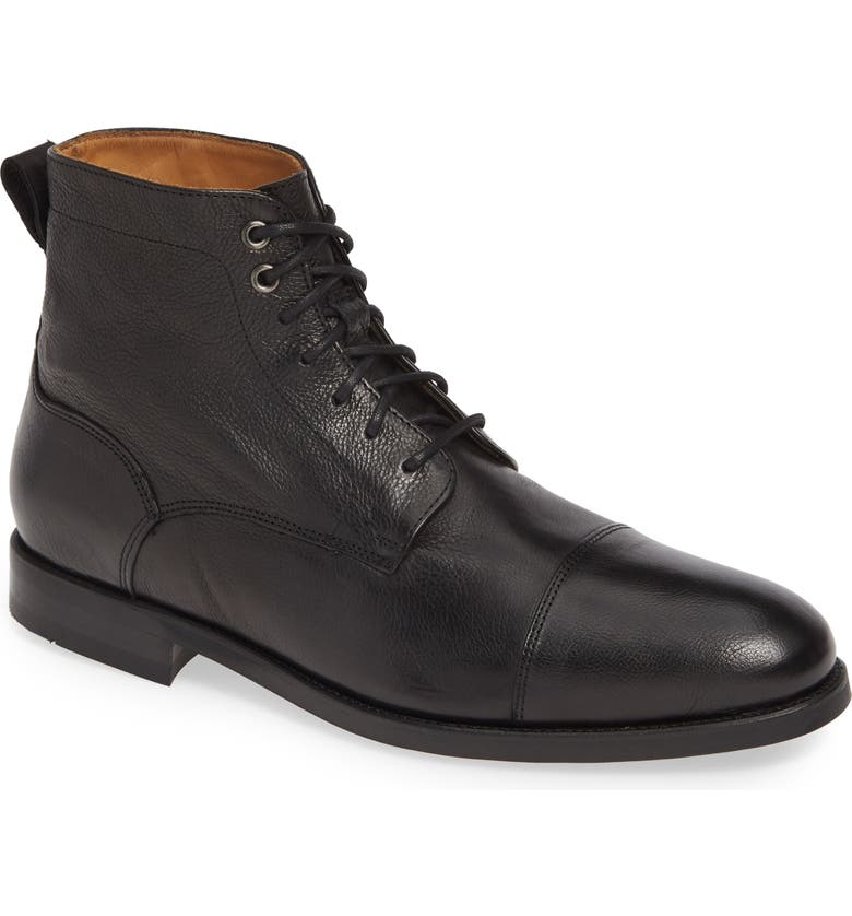 JACK ERWIN Barclay Cap Toe Boot, Main, color, BLACK DISTRESSED LEATHER