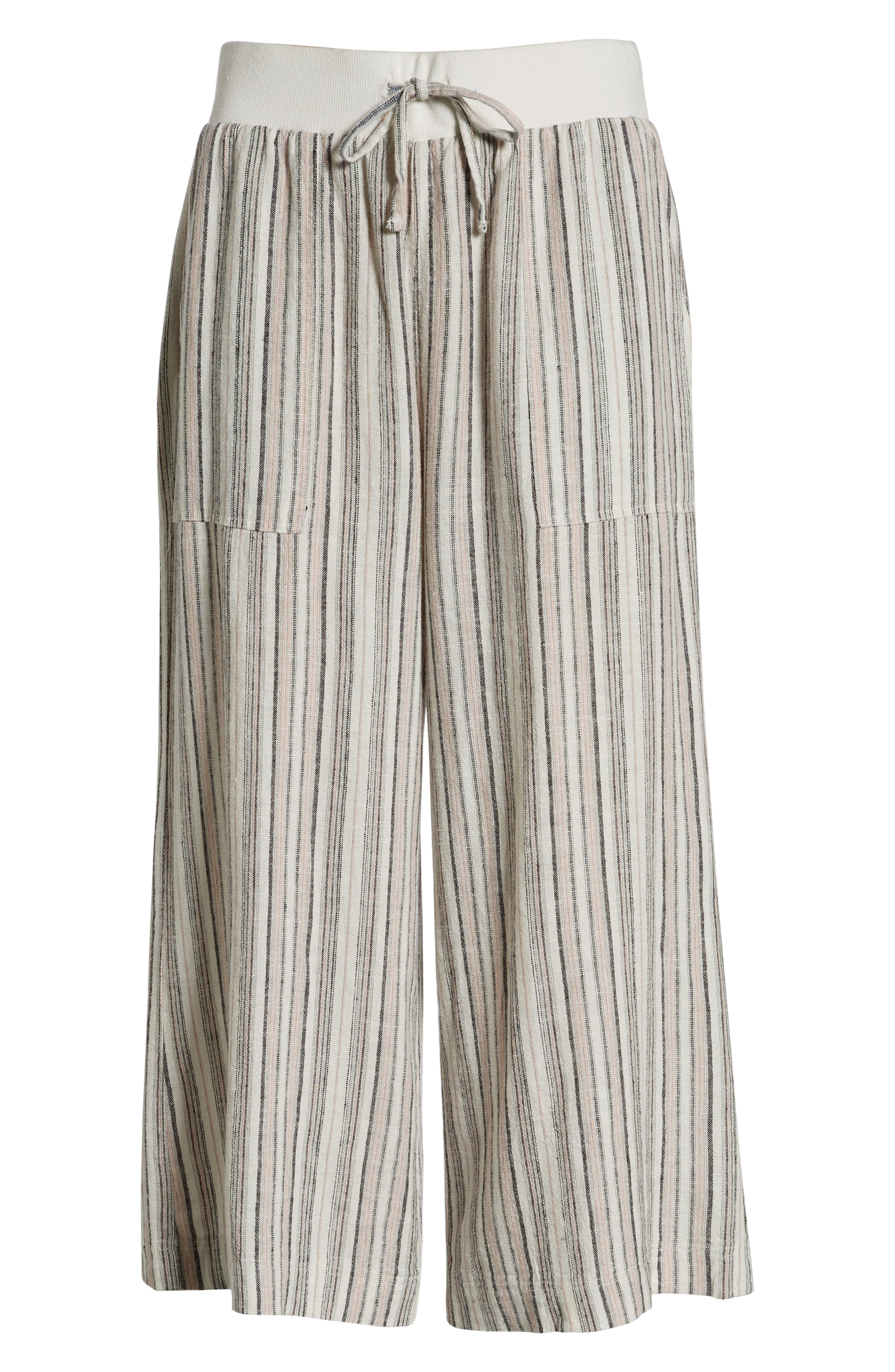 ,                             Stripe Crop Linen Blend Pants,                             Alternate thumbnail 21, color,                             680