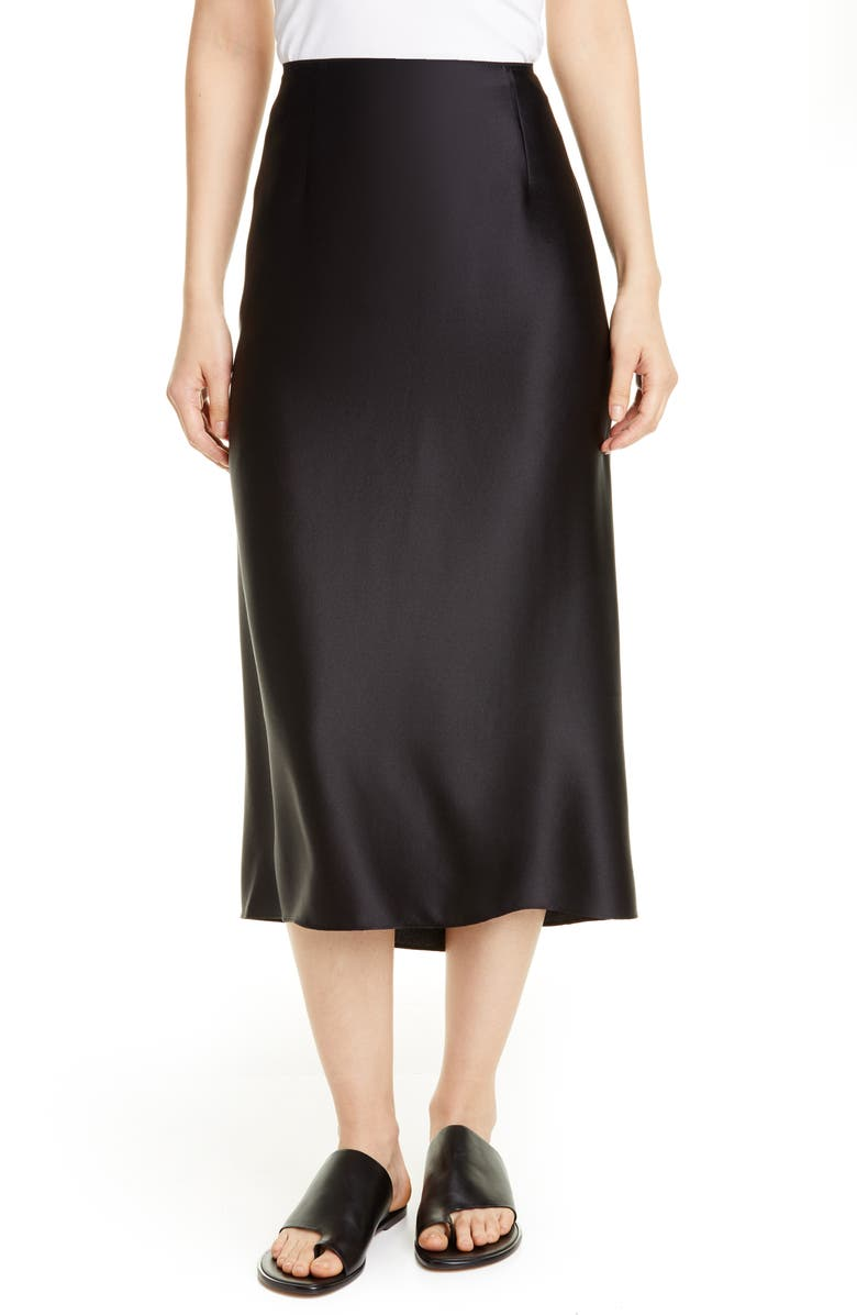 VINCE Silk Slip Skirt, Main, color, BLACK