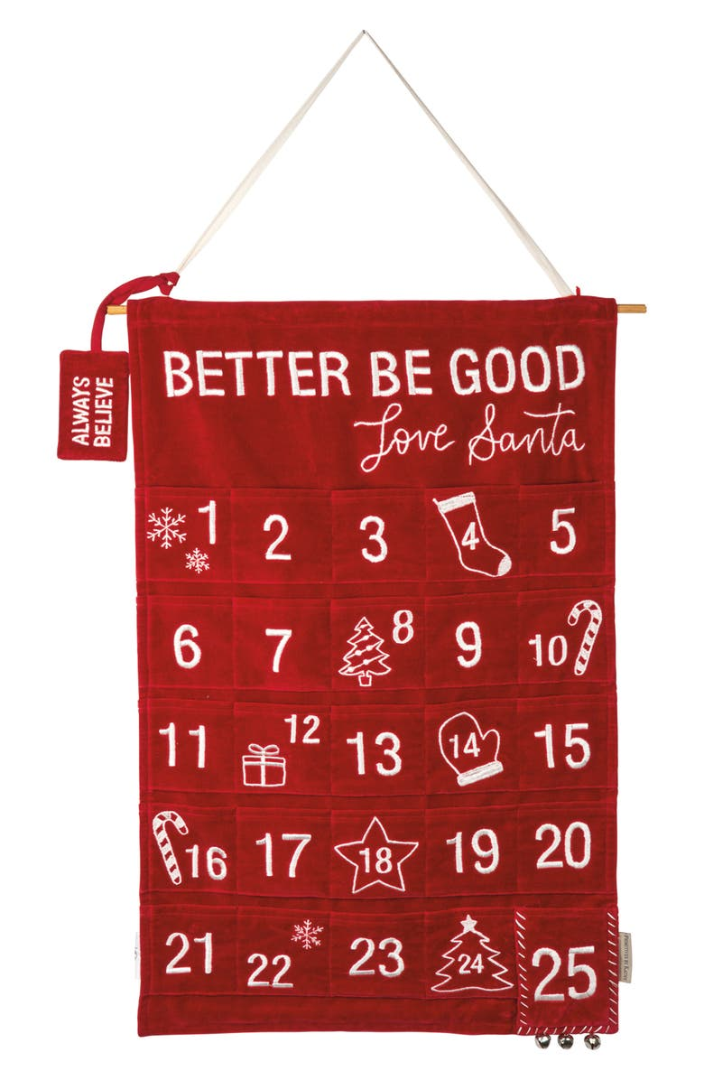PRIMITIVES BY KATHY Be Good Countdown Wall Hanging, Main, color, RED