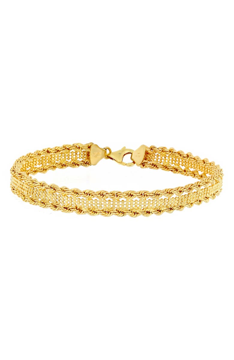 BONY LEVY Cleo 14K Gold Textured Chain Bracelet, Main, color, 710
