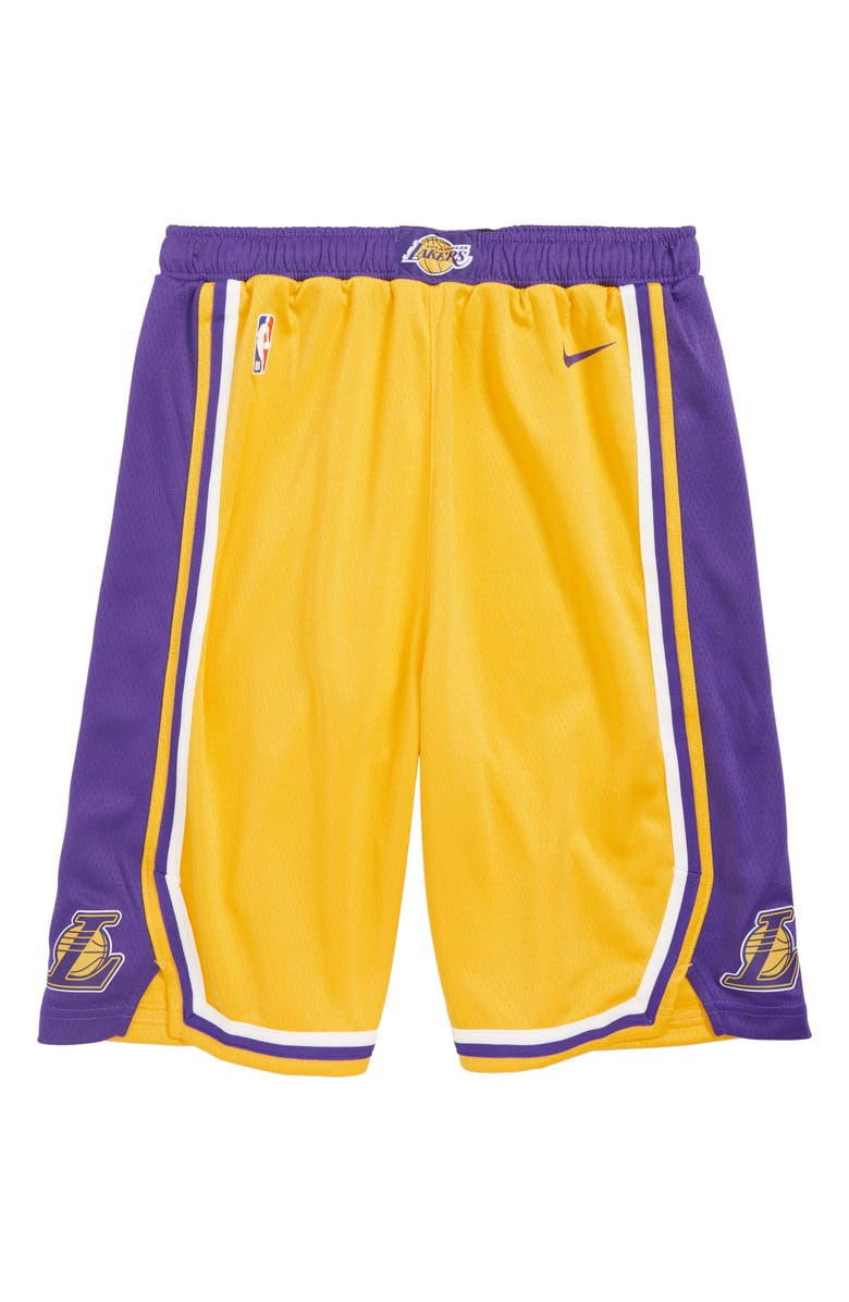 NIKE Icon Los Angeles Lakers Basketball Shorts, Main, color, GOLD