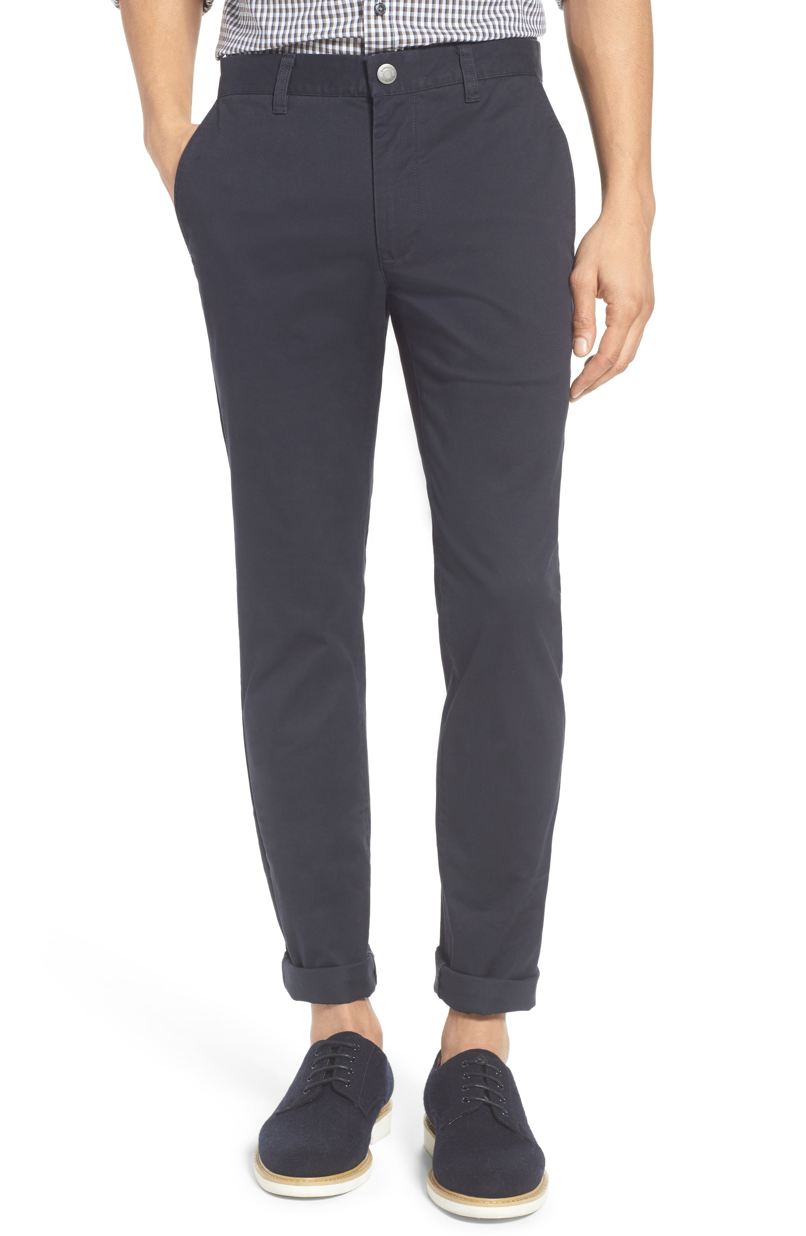 Tailored Fit Washed Stretch Cotton Chinos