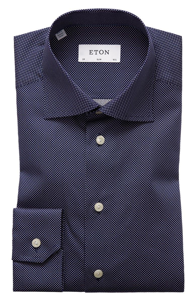 ETON Slim Fit Dot Dress Shirt, Main, color, BLUE