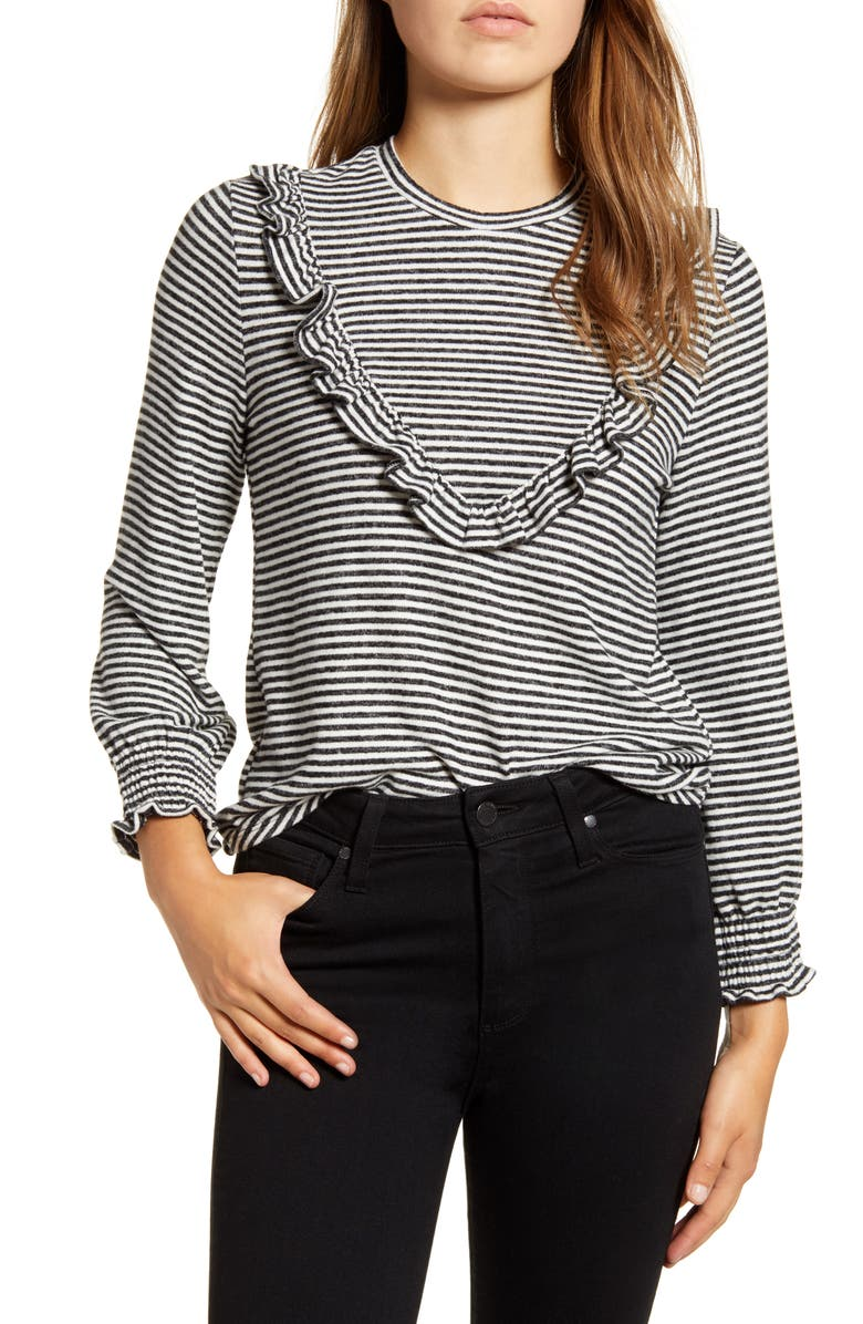 LUCKY BRAND Ruffle Stripe Cloud Jersey Top, Main, color, 001