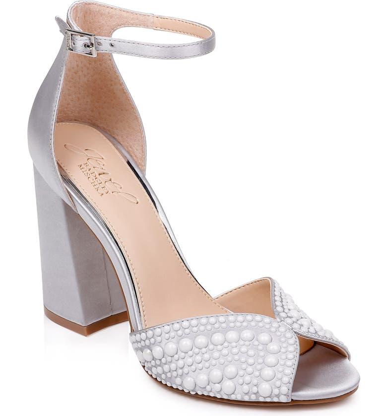 JEWEL BADGLEY MISCHKA Serenity Ankle Strap Sandal, Main, color, SILVER SATIN