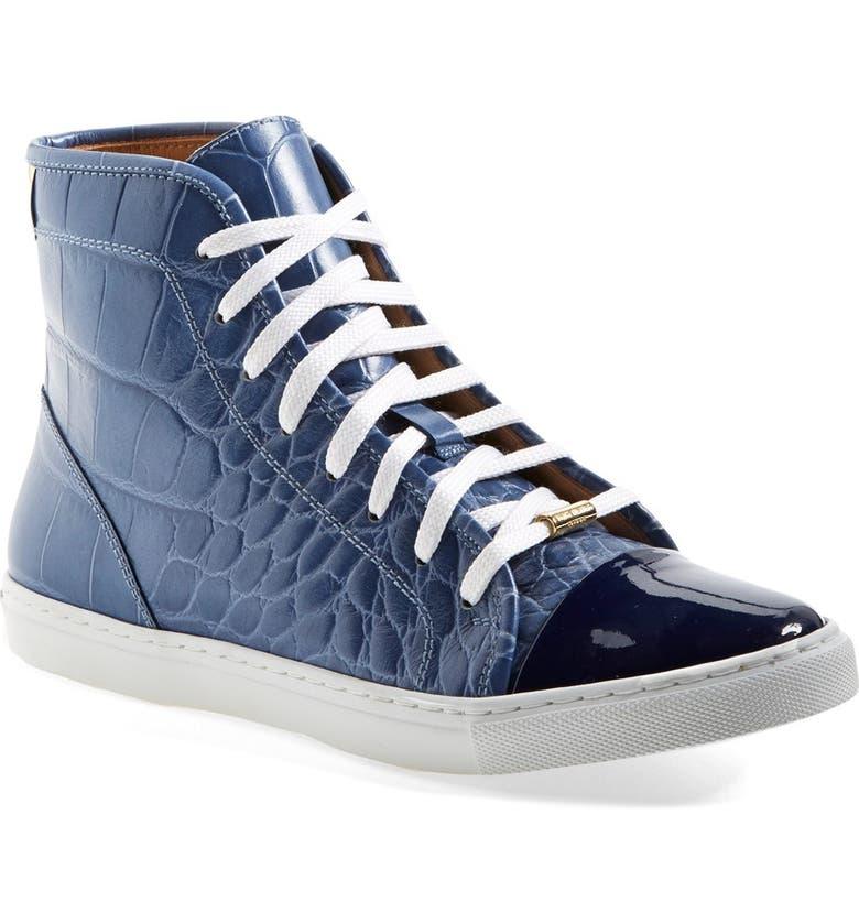 KURT GEIGER LONDON 'Leemo' Croc Embossed Leather High Top Sneaker, Main, color, 400