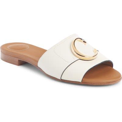 Chloe C Logo Slide Sandal - White
