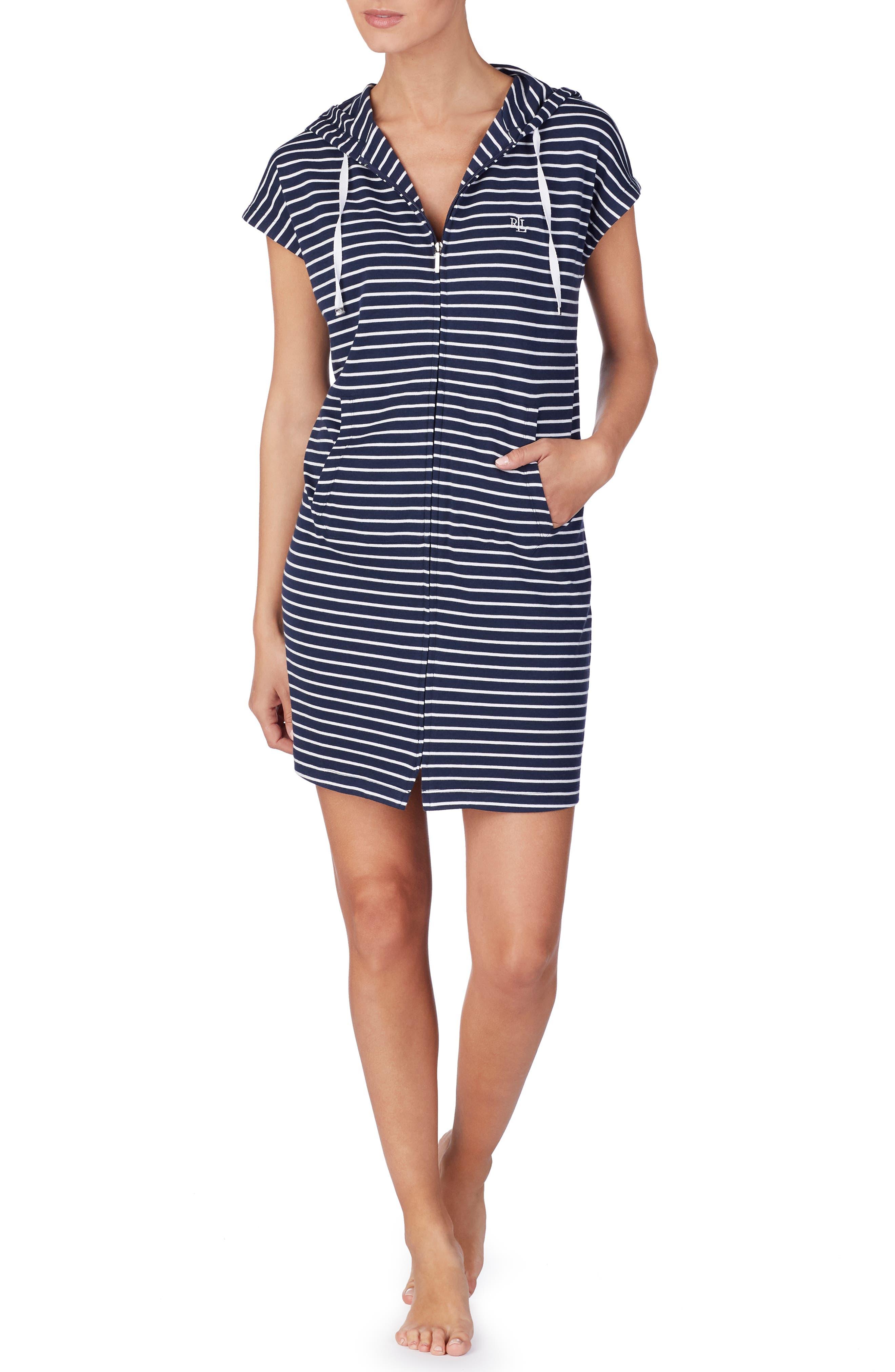 Zip Front Hoodie Lounge Dress, Main, color, NAVY STRIPE