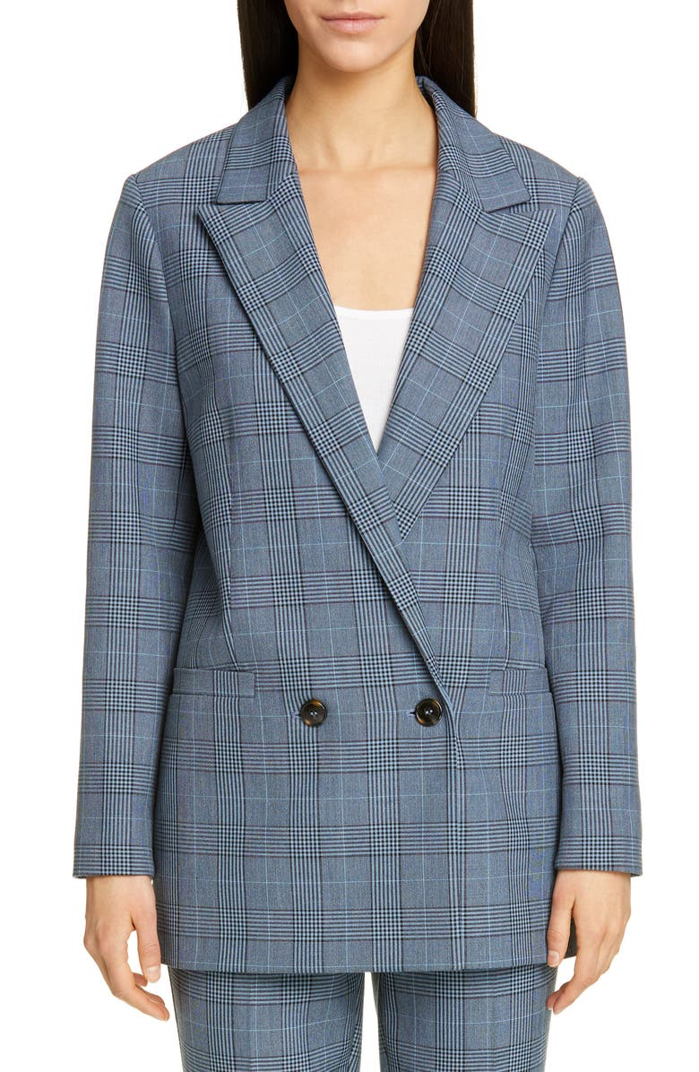 GANNI Double Breasted Plaid Suiting Blazer, Main, color, FOREVER BLUE