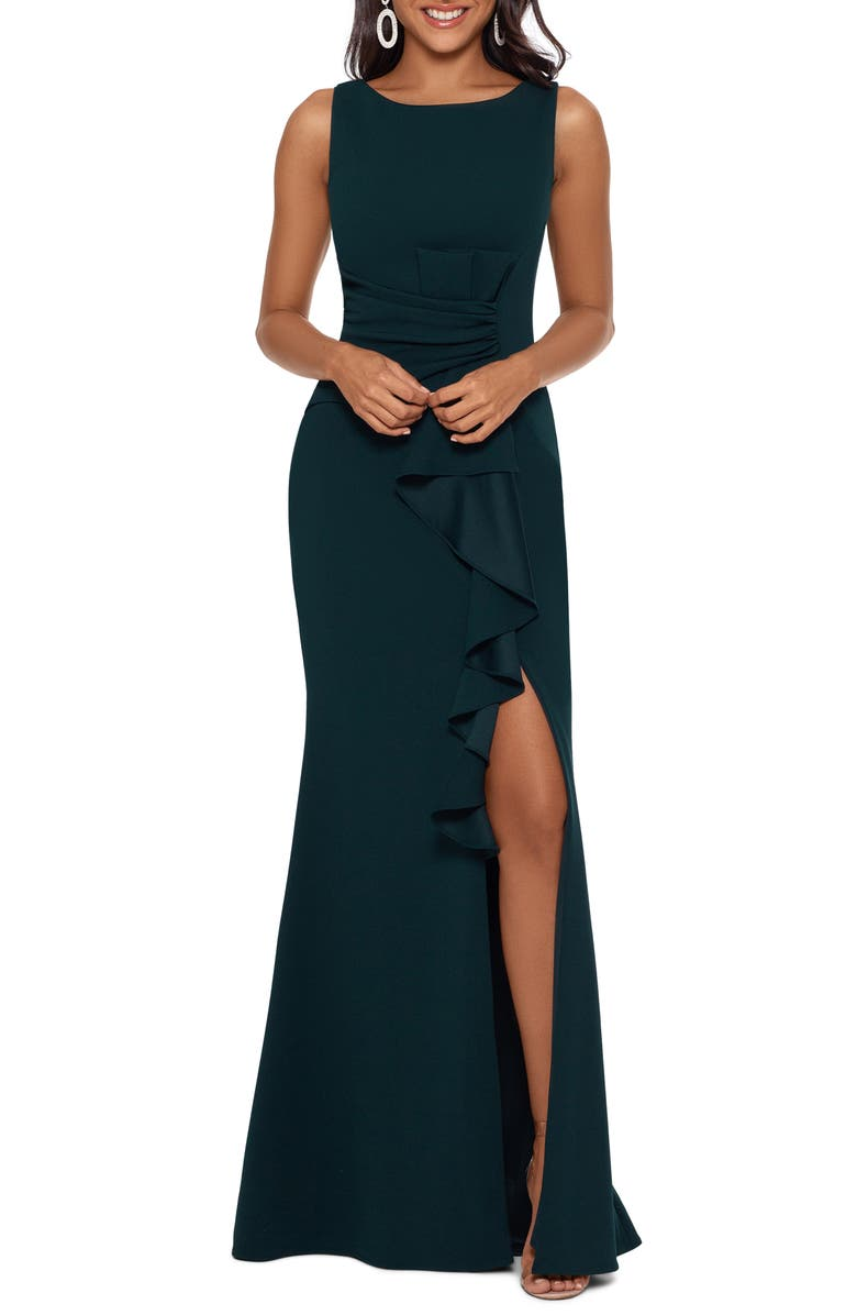 BETSY & ADAM Ruffle Bow Trumpet Gown, Main, color, PINE