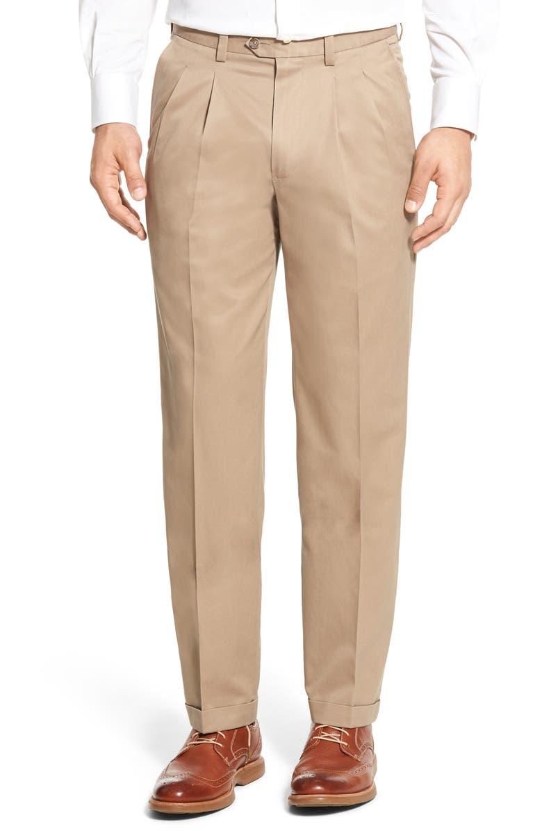NORDSTROM MEN'S SHOP Classic Smartcare<sup>™</sup> Pleated Supima<sup>®</sup> Cotton Dress Pants, Main, color, TAN DESERT