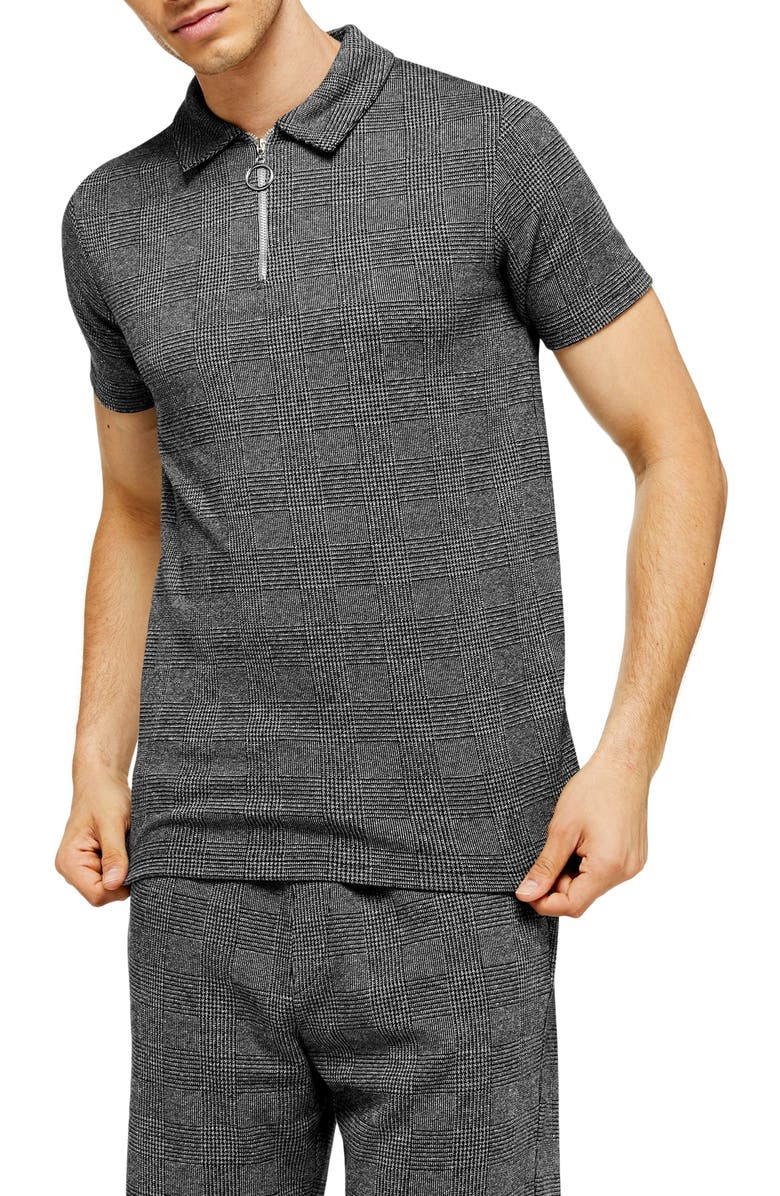 TOPMAN Prince of Wales Check Classic Fit Zip Polo, Main, color, CHARCOAL