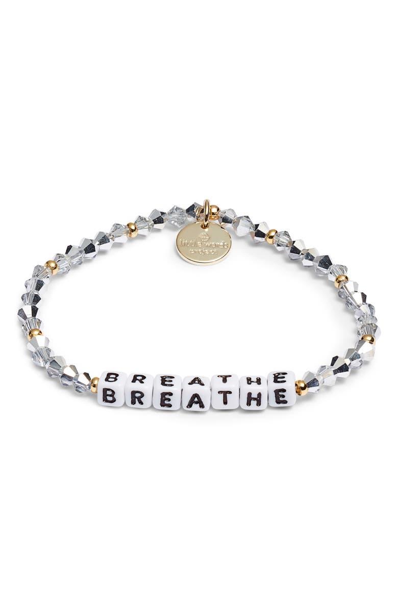 LITTLE WORDS PROJECT Breathe Beaded Stretch Bracelet, Main, color, COMET LIGHT SILVER WHITE