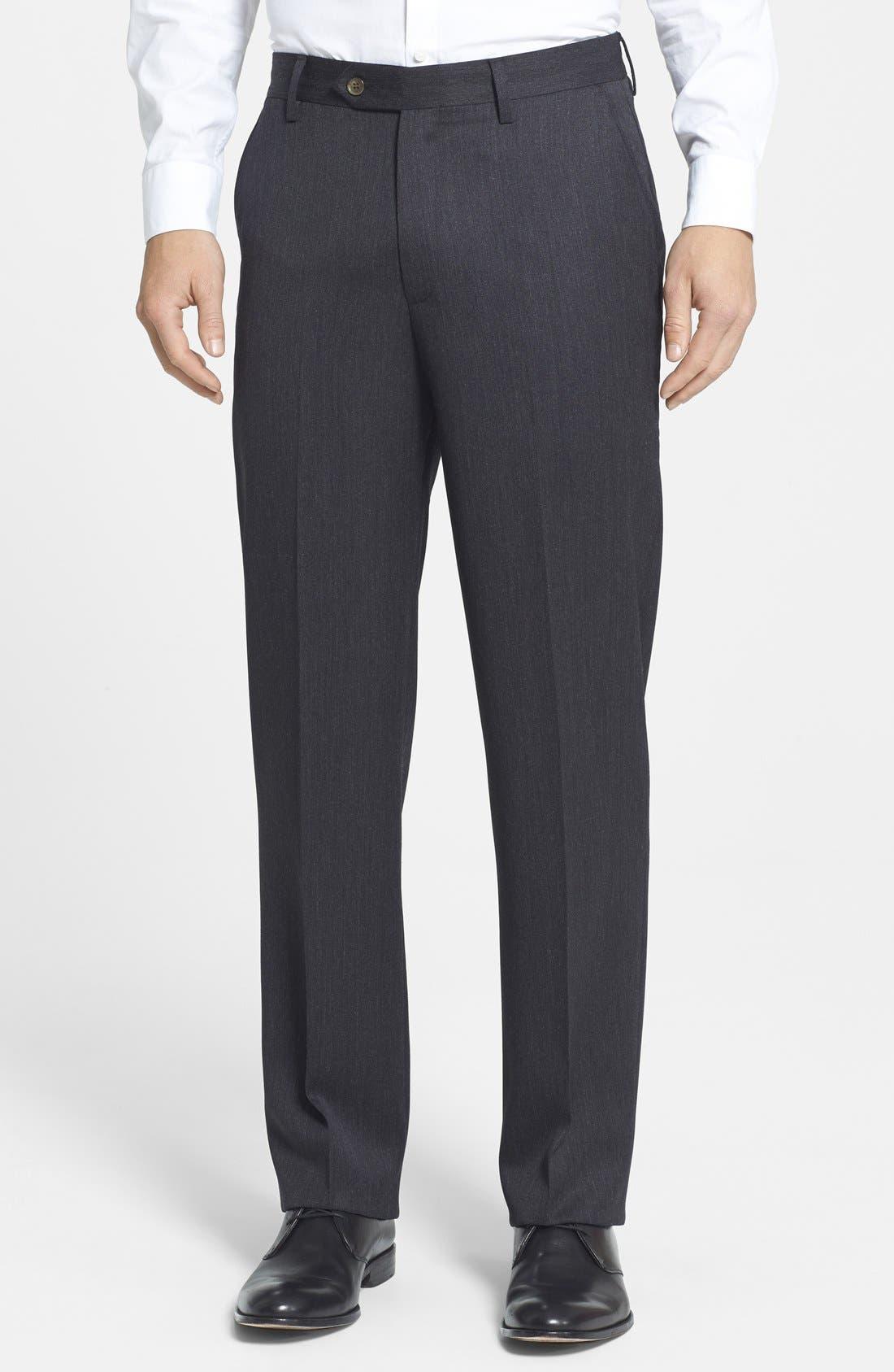 Flat Front Classic Fit Wool Gabardine Dress Pants