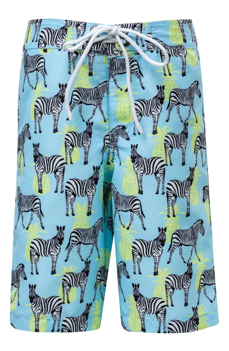 SNAPPER ROCK Zebra Crossing True Board Shorts, Main, color, BLUE
