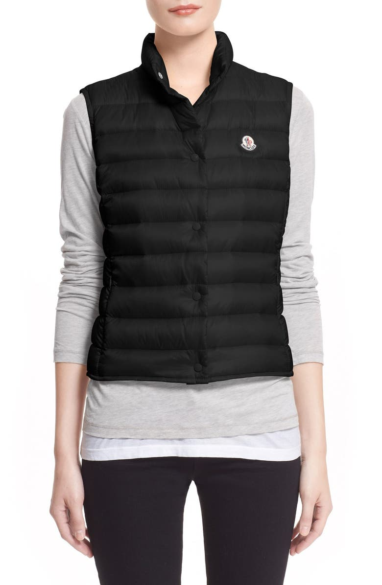 MONCLER 'Liane' Water Resistant Short Down Vest, Main, color, BLACK
