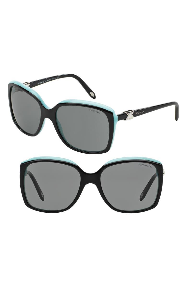 TIFFANY & CO. 58mm Rectangular Sunglasses, Main, color, BLACK/ BLUE