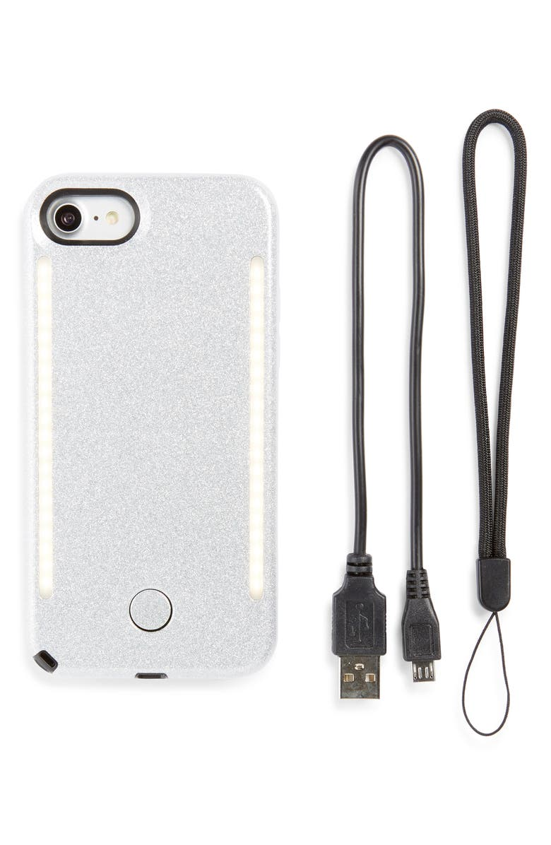 LUMEE Duo LED Lighted iPhone 7/8 & 7/8 Plus Case, Main, color, SILVER GLITTER