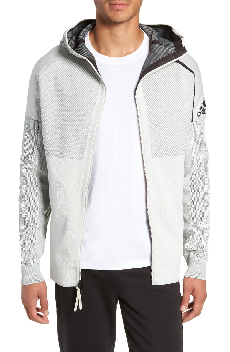 ADIDAS ZNE Hooded Jacket, Main, color, RAW WHITE/LEGEND IVY