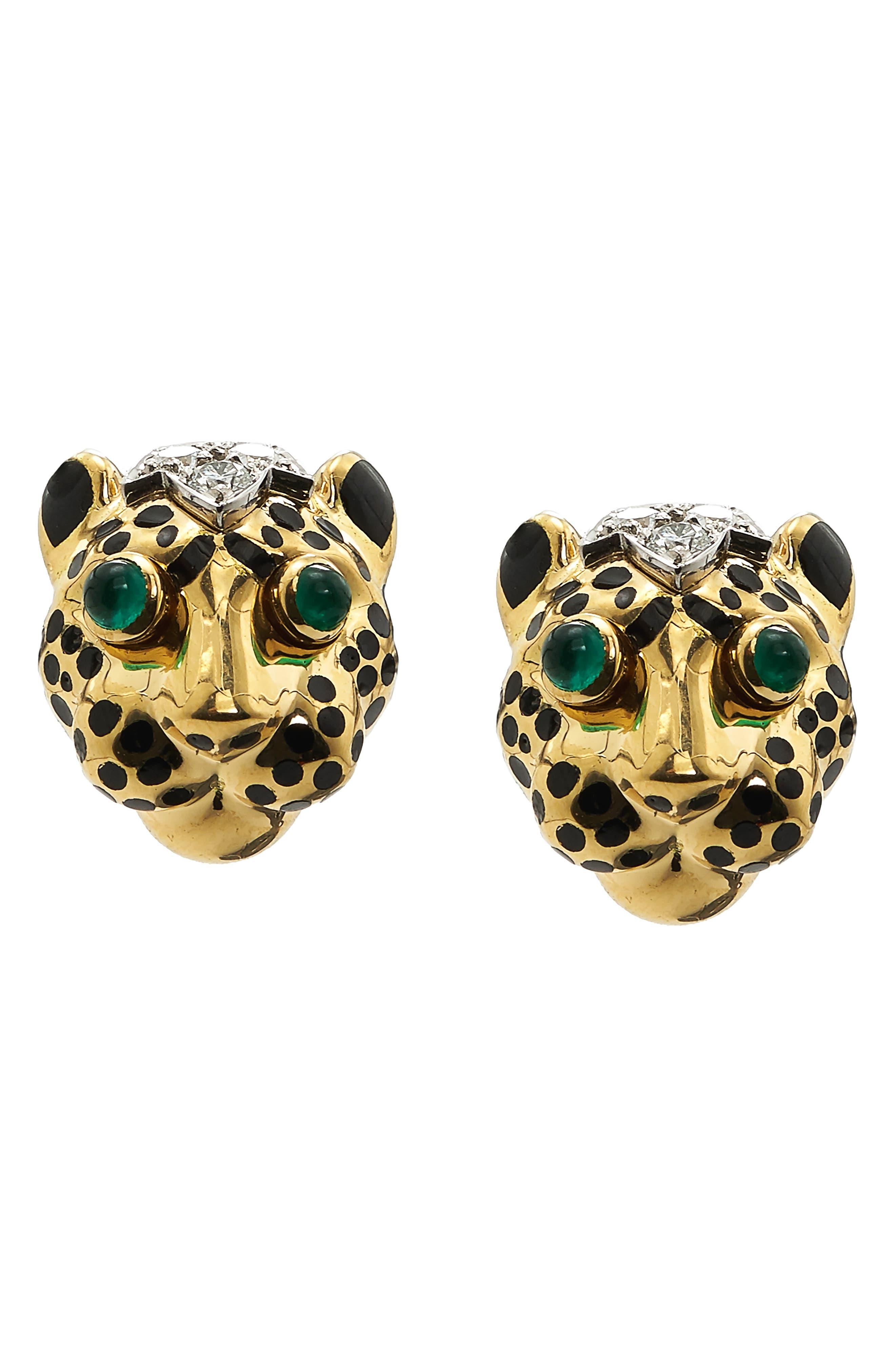 Kingdom Diamond Leopard Stud Earrings