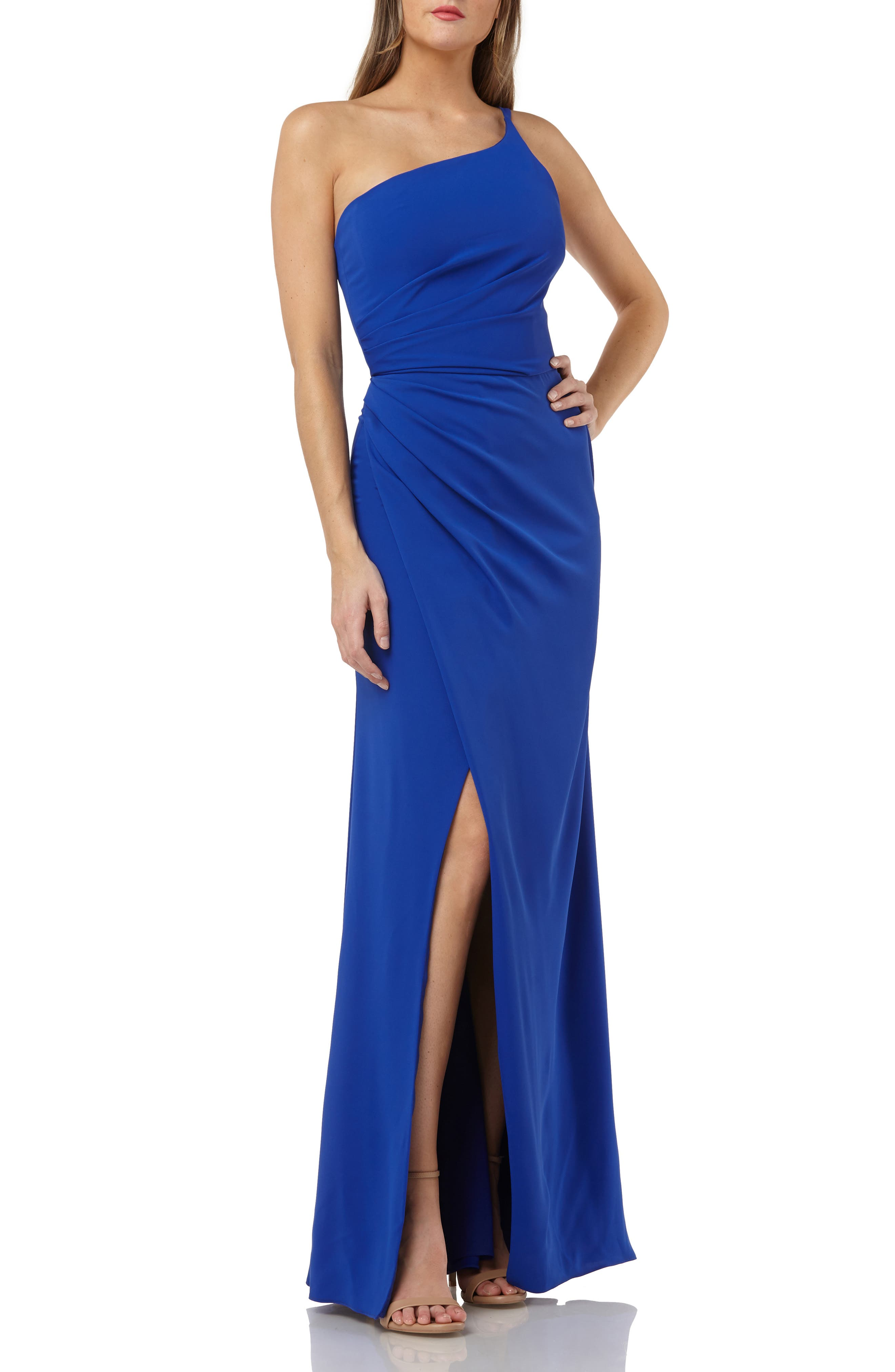 Carmen Marco Valvo Infusion One Shoulder Evening Dress, Blue