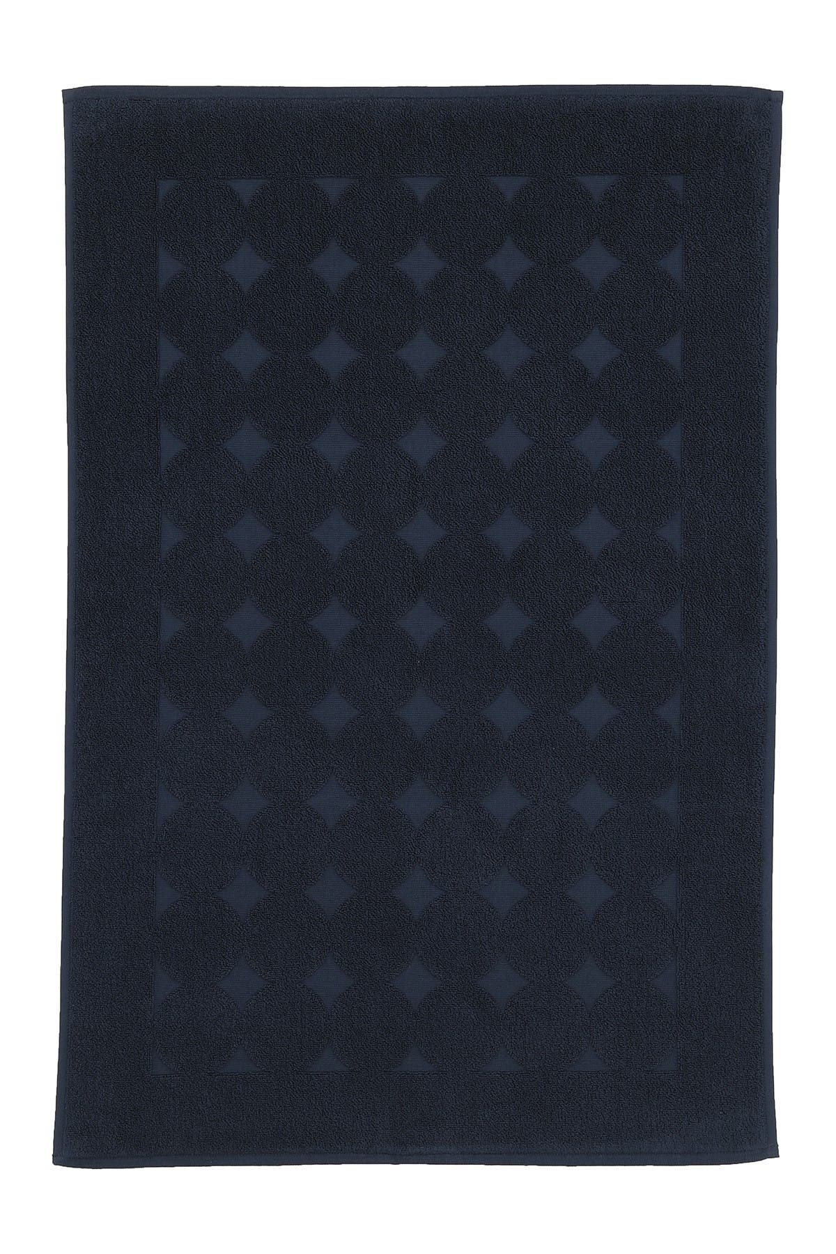 Image of LINUM HOME Sinemis Circle Design Bath Mat - Navy