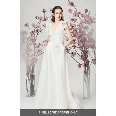 Marchesa Notte Savannah Ruffle Sleeve Wedding Dress, Size IN STORE ONLY - Ivory