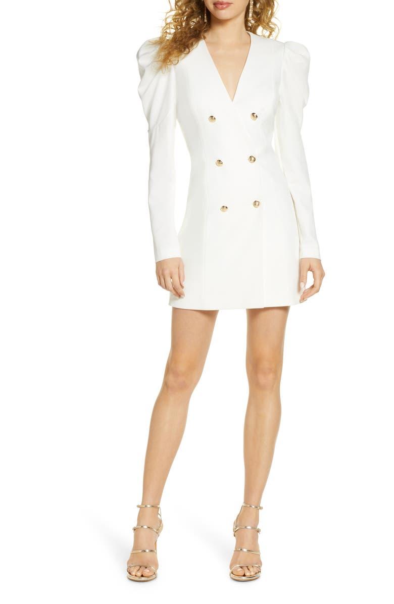 BARDOT Britt Long Sleeve Plunge Blazer Dress, Main, color, IVORY